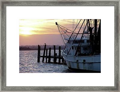 Swansboro Shrimper Framed Print by Alan Hausenflock