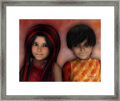 Swarthy Twins Framed Print by Jutta Maria Pusl
