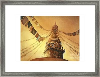 Swayambhnath Buddist Stupa- Nepal Framed Print