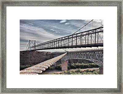 Framed Print featuring the photograph Swayback Suspension Bridge by Farol Tomson