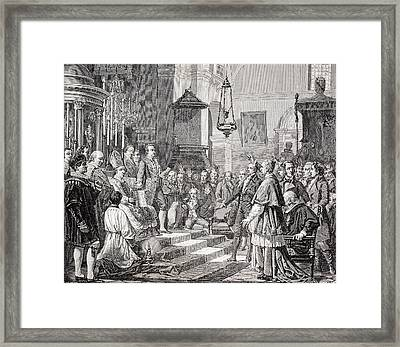 Swearing In Of The Deputies During The Framed Print by Vintage Design Pics