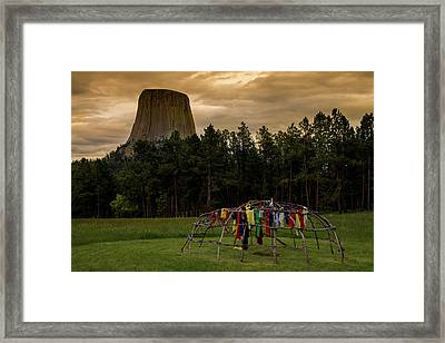 Framed Print featuring the photograph Sweat Lodge At Devil's Tower by Gary Lengyel