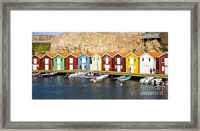 Swedish Boathouses Framed Print by Lutz Baar