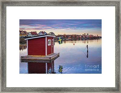 Swedish Floating Sauna Framed Print by Inge Johnsson