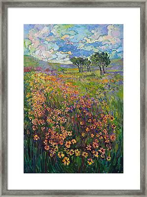 Framed Print featuring the painting Sweep Of Wildflowers by Erin Hanson