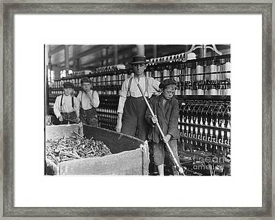 Sweeper And Doffer Boys In Lancaster Cotton Mills Framed Print