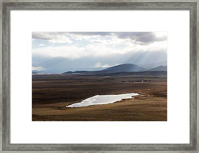 Sweeping Plain And A Small Lake Between Mountain Foothills Near Fairplay In Park County Framed Print by Carol M Highsmith