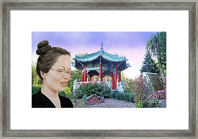 Sweet Asian Woman By The Pagoda In Golden Gate Park  Framed Print by Jim Fitzpatrick