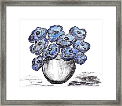 Sweet Blue Poppies Framed Print by Ramona Matei