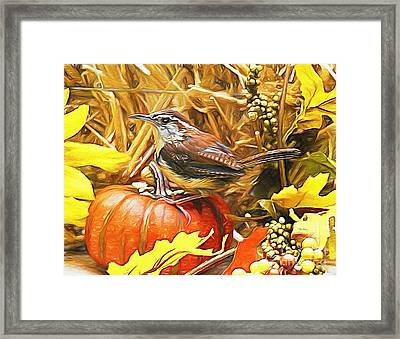 Sweet Carolina Wren Framed Print by Tina  LeCour