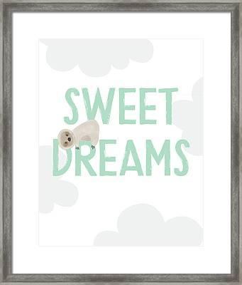 Sweet Dreams Sloth 2- Art By Linda Woods Framed Print