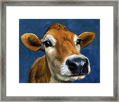 Sweet Jersey Cow Framed Print by Dottie Dracos