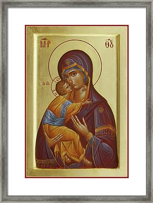 Sweet Kissing Mother Of God Framed Print by Julia Bridget Hayes
