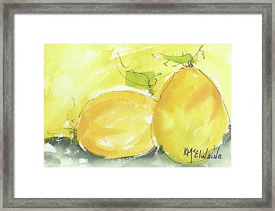 Sweet Lemon Watercolor Painting By Kmcelwaine Framed Print by Kathleen McElwaine