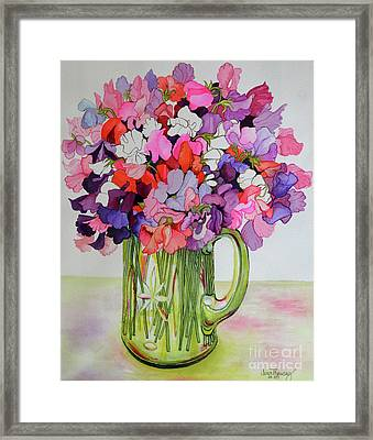 Sweet Peas In A Glass Jug Framed Print