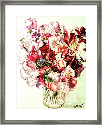 Sweet Peas Framed Print by Joan Thewsey