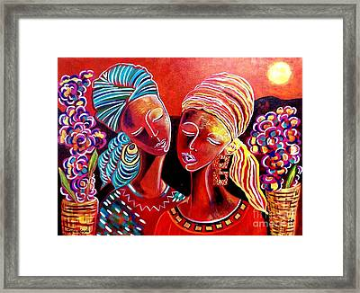 Framed Print featuring the painting Sweet Sisters by Julie Hoyle