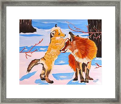 Sweet Vixen And Kit Foxes Framed Print
