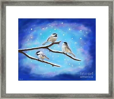 Framed Print featuring the painting Sweetest Winter Birdies by Leslie Allen