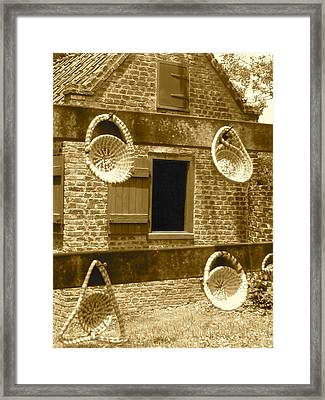 Sweetgrass Baskets And Slave Shack Framed Print by Staci-Jill Burnley