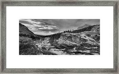 Swiftcurrent Falls Sunrise Black And White Framed Print