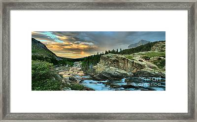 Swiftcurrent Falls Sunrise Panorama Framed Print