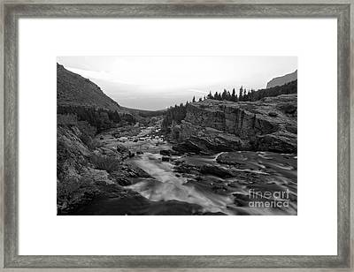 Swiftcurrent Sunrise Black And White Framed Print by Adam Jewell
