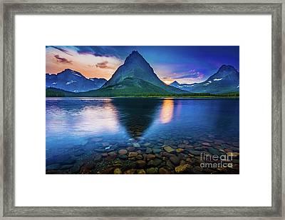 Swiftcurrent Twilight Framed Print by Inge Johnsson