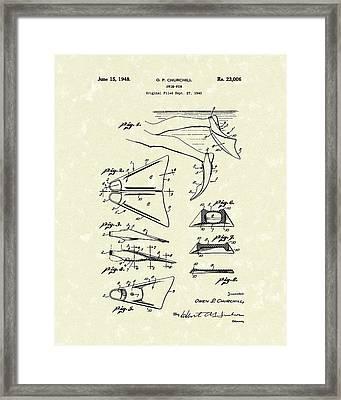 Swim Fin 1948 Patent Art Framed Print by Prior Art Design