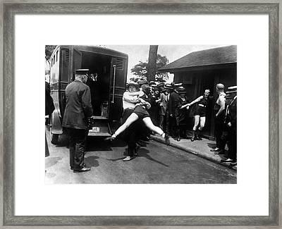Swim Suit Paddy Wagon Arrest C. 1922 Framed Print