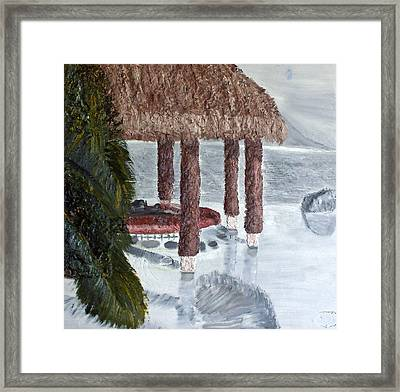 Swim To A Beach Bar Cool Huh Framed Print by Leslye Miller