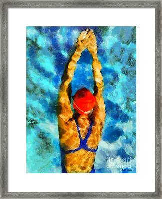 Swimmer Framed Print by Elizabeth Coats
