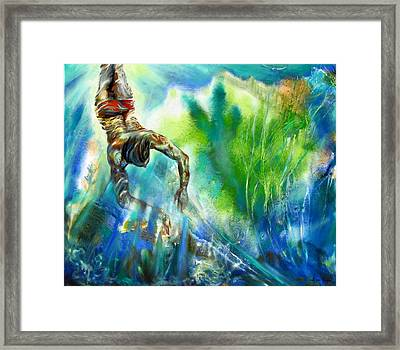 Swimmer Framed Print by Lina Golan