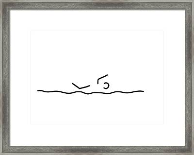 Swimmers Sport Swim Framed Print by Lineamentum