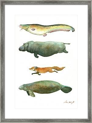 Swimming Animals Framed Print by Juan Bosco