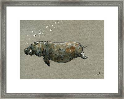 Swimming Hippo Framed Print by Juan  Bosco