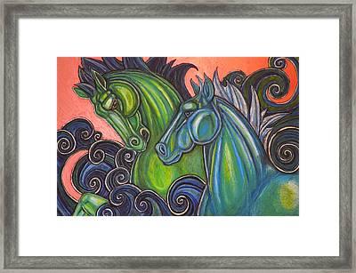 Swimming Horses  Framed Print by Lynnette Shelley