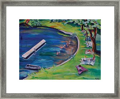 Swimming Lake On July Fourth Framed Print by Meredith Piper