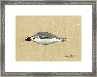 Swimming Penguin Painting Framed Print by Juan  Bosco