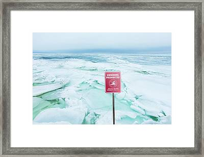 Swimming Prohibited, Peconic Bay Framed Print by John Stuart