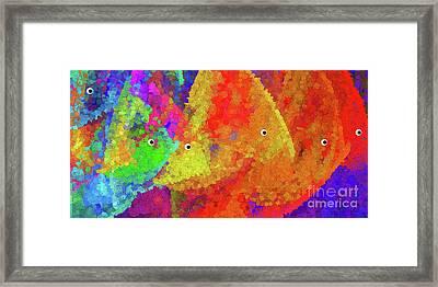 Swimming Rainbow Fish Abstract Framed Print