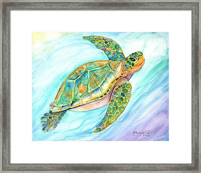 Swimming, Smiling Sea Turtle Framed Print