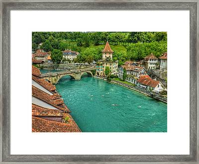 Framed Print featuring the photograph Swimming The River Aare , Bern  by Connie Handscomb