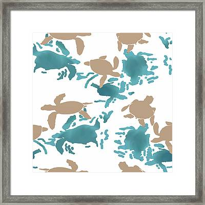 Swimming Turtles Framed Print