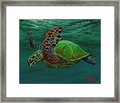 Framed Print featuring the painting Swimming With Aloha by Darice Machel McGuire
