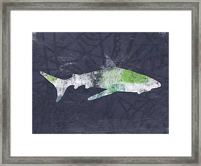 Swimming With Sharks 3- Art By Linda Woods Framed Print