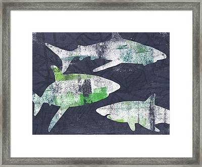 Swimming With Sharks- Art By Linda Woods Framed Print