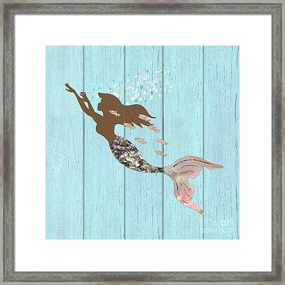 Swimming With The Fishes A Brown Mermaid Racing Rose Gold Fish Framed Print