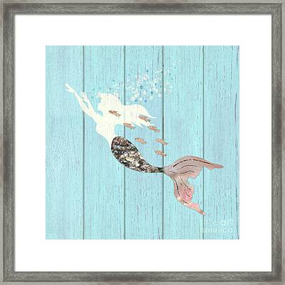 Swimming With The Fishes A White Mermaid Racing Rose Gold Fish Framed Print