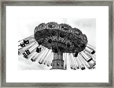 Swinging At Seaside Heights Mono Framed Print